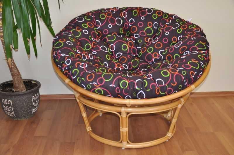 Ratanový papasan 110 cm medový polstr barevné bubliny SLEVA 7 % | RYCHLÉ DODÁNÍ