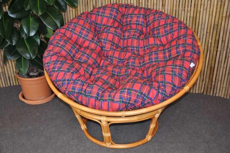 Ratanový papasan 110 cm medový polstr červený SLEVA 7 % | RYCHLÉ DODÁNÍ