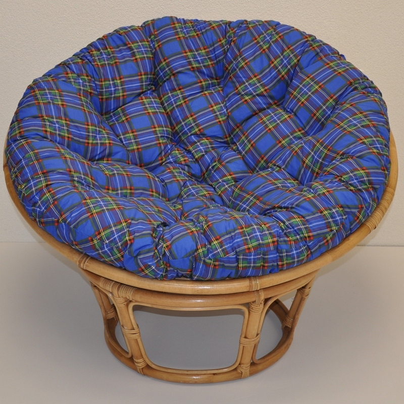 Ratanový papasan 110 cm medový polstr modrý SLEVA 8 % | RYCHLÉ DODÁNÍ