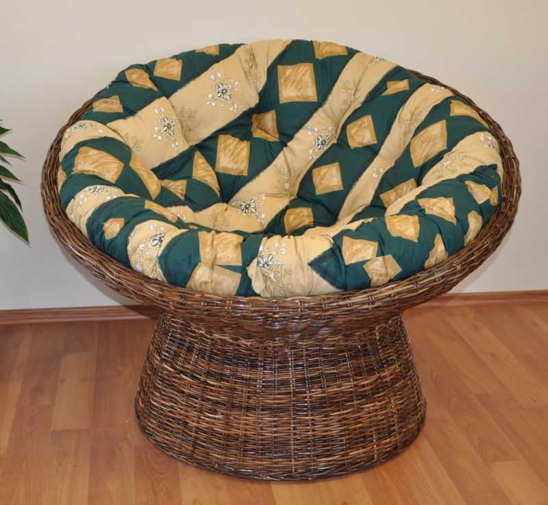 Ratanový papasan Croco polstr zelený motiv SLEVA 7 % | RYCHLÉ DODÁNÍ