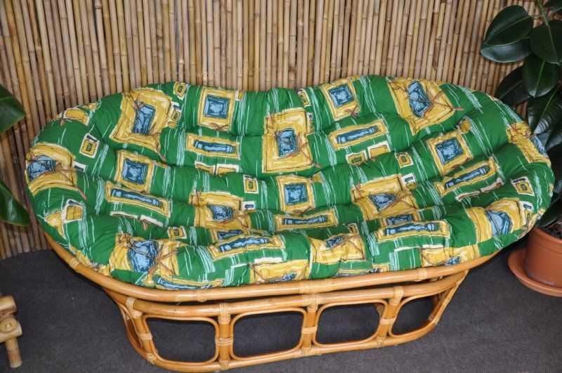 Ratanový papasan double medový polstr zelený SLEVA 14 % | RYCHLÉ DODÁNÍ