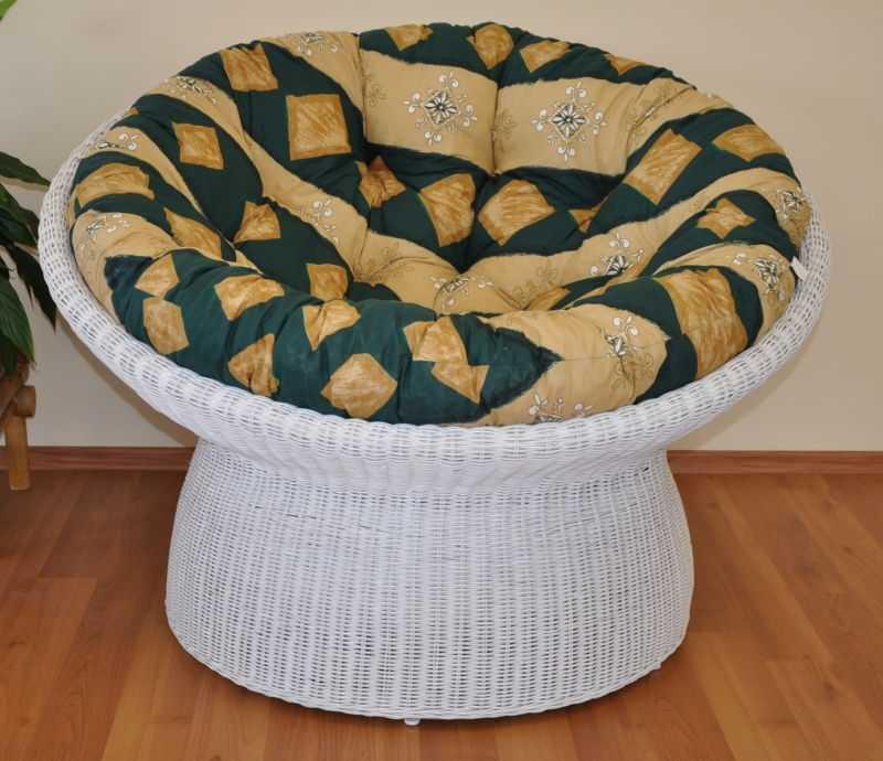 Ratanový papasan wicker bílý polstr zelený motiv SLEVA 7 % | RYCHLÉ DODÁNÍ