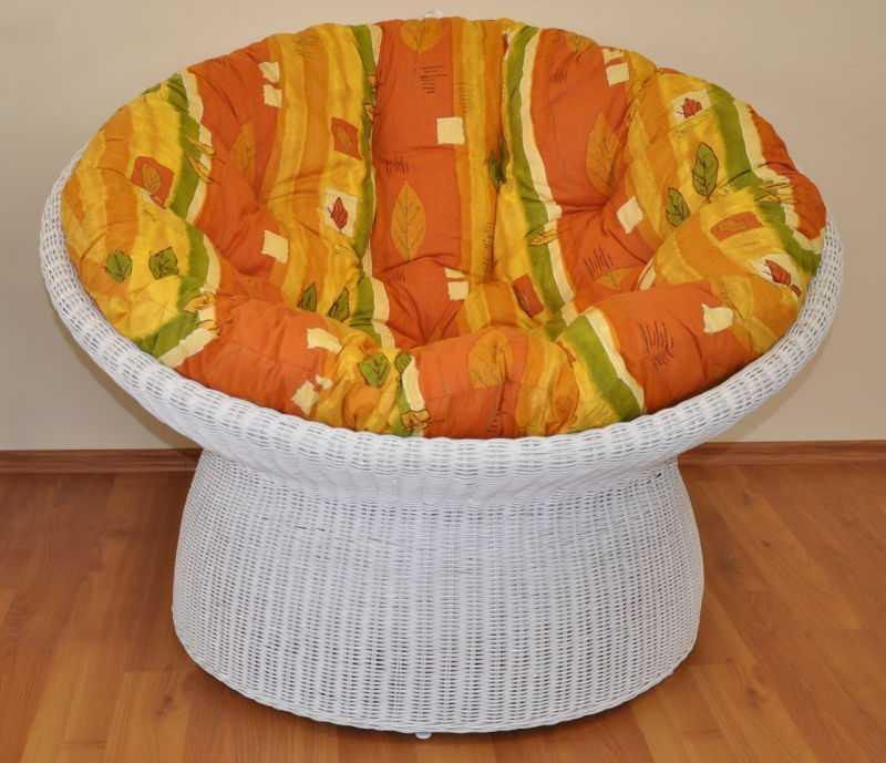 Ratanový papasan wicker bílý polstr žlutý motiv SLEVA 7 % | RYCHLÉ DODÁNÍ