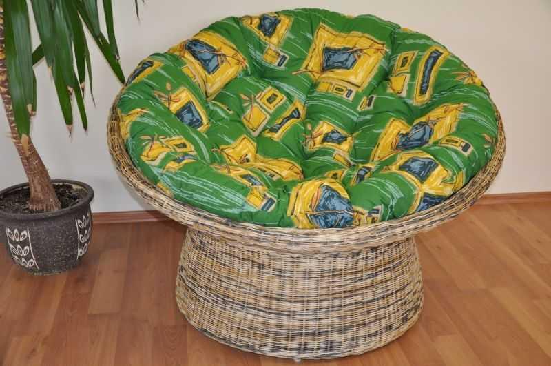 Ratanový papasan wicker mix polstr zelený SLEVA 7 % | RYCHLÉ DODÁNÍ