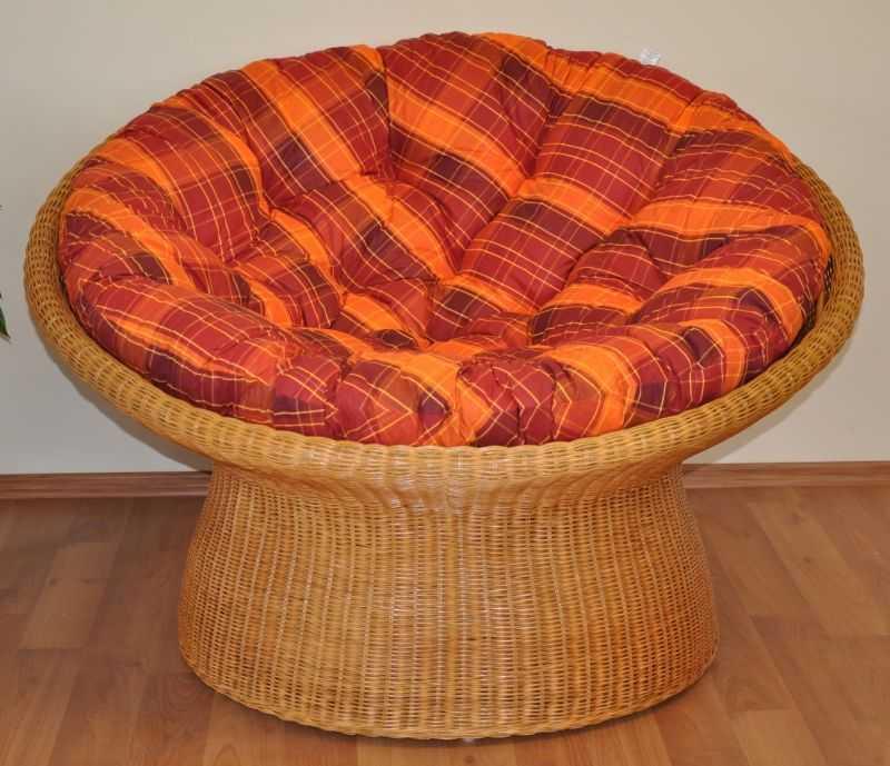Ratanový papasan wicker polstr oranžová kostka SLEVA 7 %   RYCHLÉ DODÁNÍ