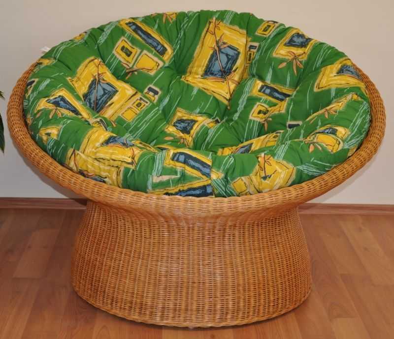 Ratanový papasan wicker polstr zelený SLEVA 7 % | RYCHLÉ DODÁNÍ