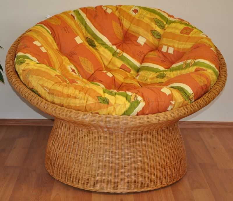 Ratanový papasan wicker polstr žlutý motiv SLEVA 7 % | RYCHLÉ DODÁNÍ