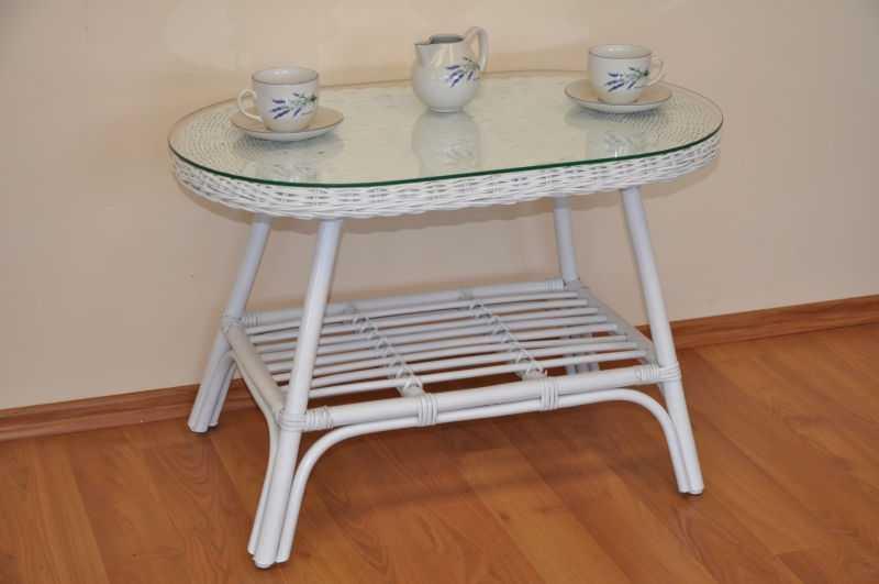 Ratanový stolek Fabion oválný bílý SLEVA 7 % | RYCHLÉ DODÁNÍ