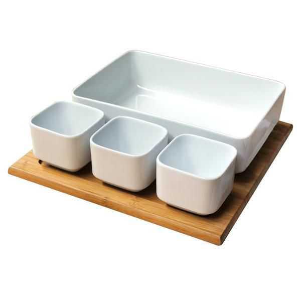 Set salátový keramika + bambusový podnos | RYCHLÉ DODÁNÍ