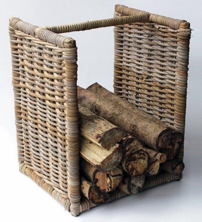 Ratanový stojan na dřevo grey nízký 50 cm | RYCHLÉ DODÁNÍ