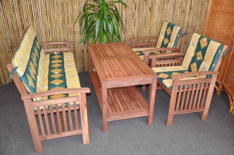 Zahradní nábytek set s lavicí zelené polstry SLEVA 7 % | RYCHLÉ DODÁNÍ