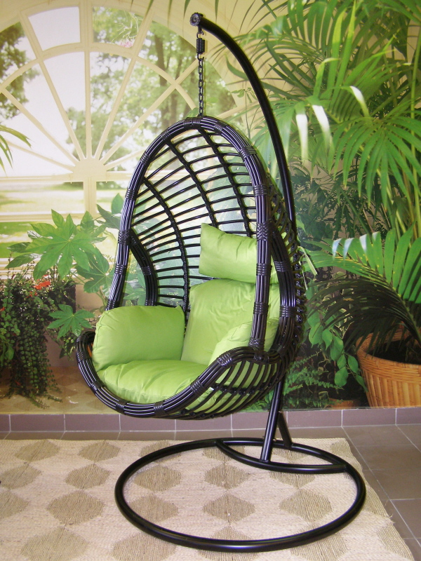 závěsné relaxační křeslo DARA - zelený sedák