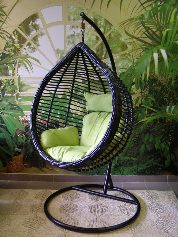 závěsné relaxační křeslo MONA - zelený sedák
