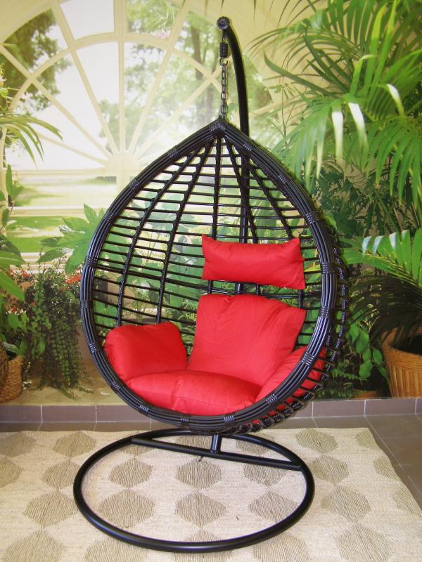 závěsné relaxační křeslo MONA - červený sedák