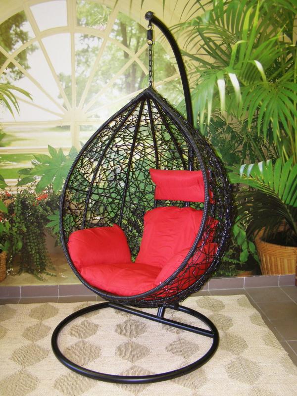 závěsné relaxační křeslo TARA- červený sedák