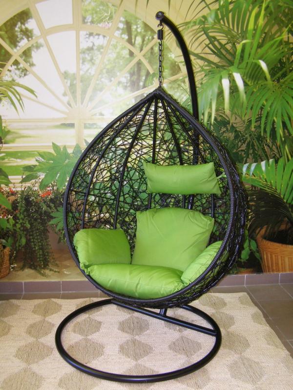 závěsné relaxační křeslo TARA- zelený sedák