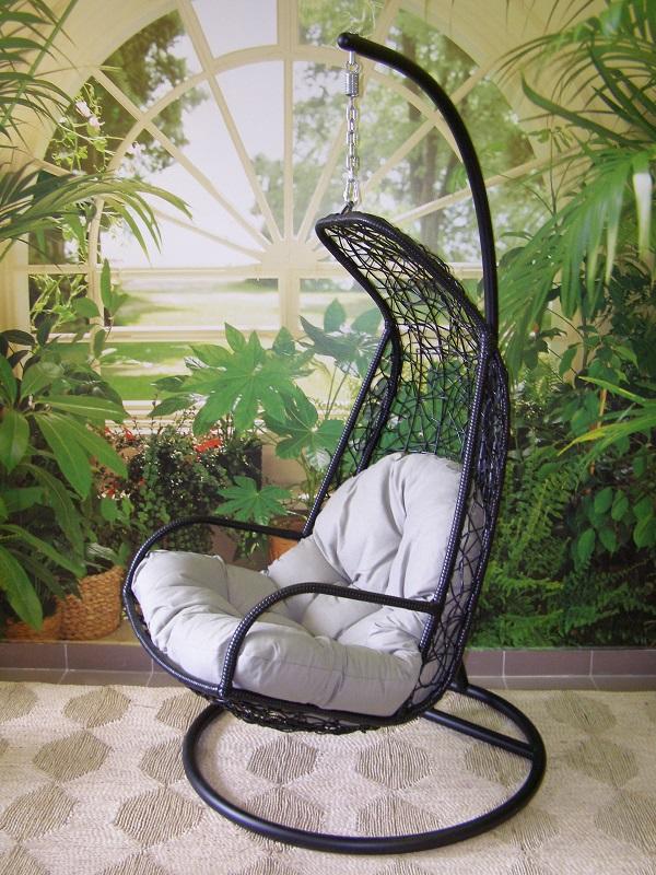 závěsné relaxační křeslo LAZY černé - šedý sedák