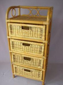 Ratanová komoda 4 zásuvky ratan  medová (AKČNÍ CENA)