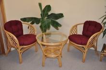 Ratanová sedací souprava Bahama malá medová vínové polstry (AKČNÍ CENA)