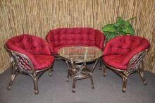 Ratanová sedací souprava Bahama velká hnědá, polstr MAXI vínový (AKČNÍ CENA)
