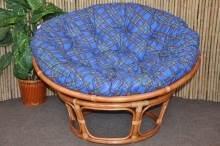 Ratanový papasan 100 cm Cognac modrý