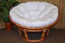 Ratanový papasan 100 cm Cognac bílý