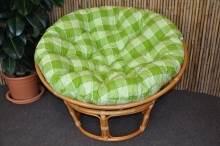 Ratanový papasan 110 cm  medový polstr zelená kostka