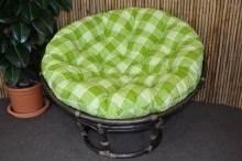 Ratanový papasan 110 cm hnědý polstr zelená kostka