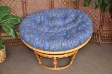 Ratanový papasan brown wash 100 cm polstr modrý