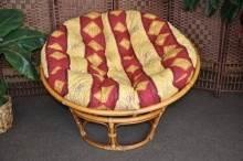 Ratanový papasan brown wash 100 cm polstr vínový motiv