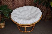 Ratanový papasan brown wash 110 cm polstr bílý (AKČNÍ CENA)
