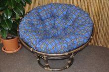 Ratanový papasan 110 cm hnědý polstr modrý