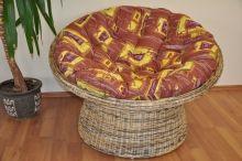Ratanový papasan wicker mix polstr hnědý list