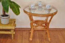 Ratanov� stolek Bahama medov� se sklem