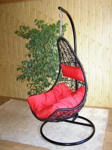 závěsné relaxační křeslo NELA - červený sedák