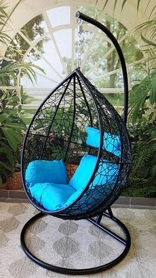 Závěsné relaxační křeslo TARA, modrý sedák - 2. jakost